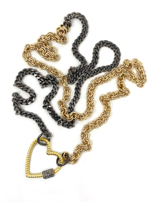 Gold and Dark Silver Chain with Heart Shaped Vermeil and Pave Diamond Carabiner