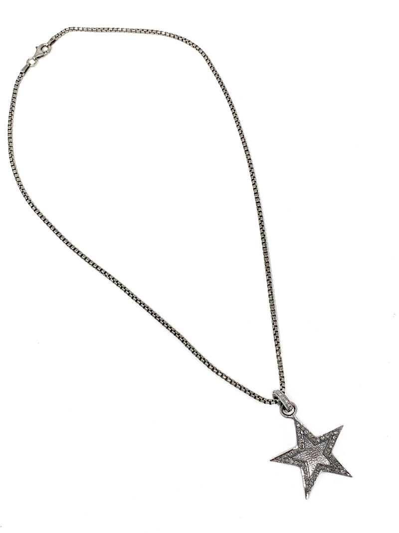 "Pave Diamond And Sterling Star Pendant on 16"" Sterling Chain"
