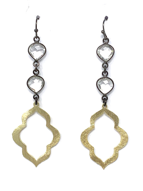 Quartz Gunmetal and Gold Small Scallop Drop Earrings