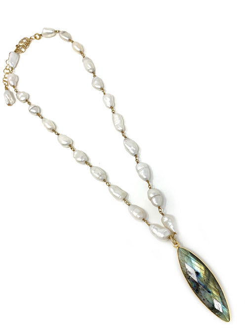 Baroque Freshwater Pearl Chain with Labradorite Pendant