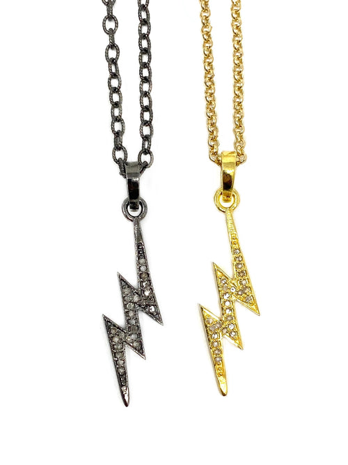 Pave Diamond Lighting Bolt Necklace