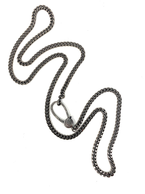 Long Curb Chain with Large Pave Diamond Clasp