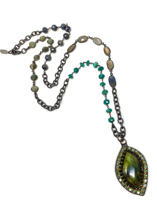 Mixed Gemstone Chain with Labradorite and Crystal Pendant