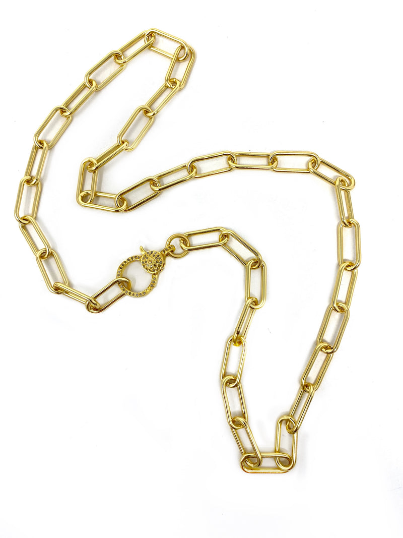 Modern Paper Clip Chain with a Diamond Clasp