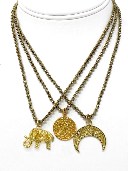 Crocheted Pyrite Chain with Assorted Gold Charms