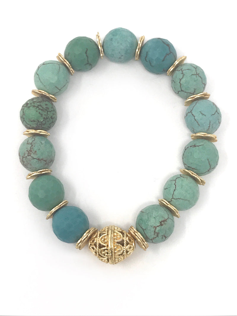 Turquoise 10mm Faceted Beaded Bracelet with Gold Accents