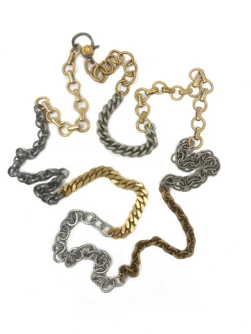 Mixed Metal Chain with Diamond Accent Clasp #12