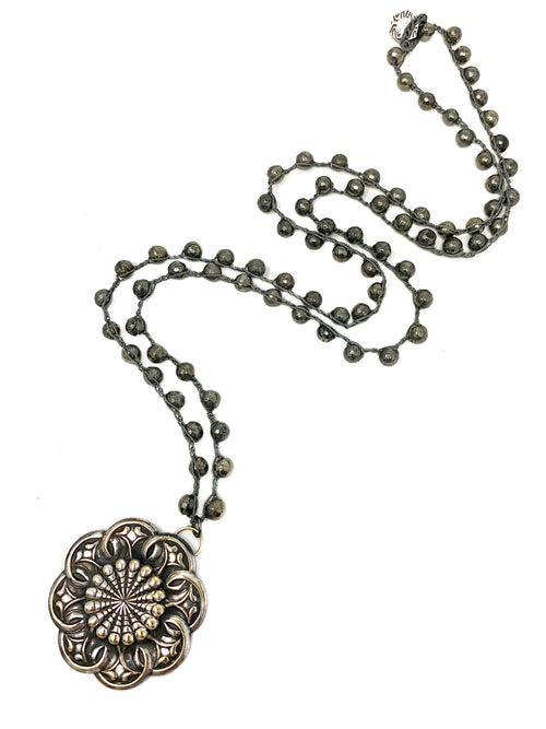 Pyrite Crochet Chain with Vintage Silver Medallion