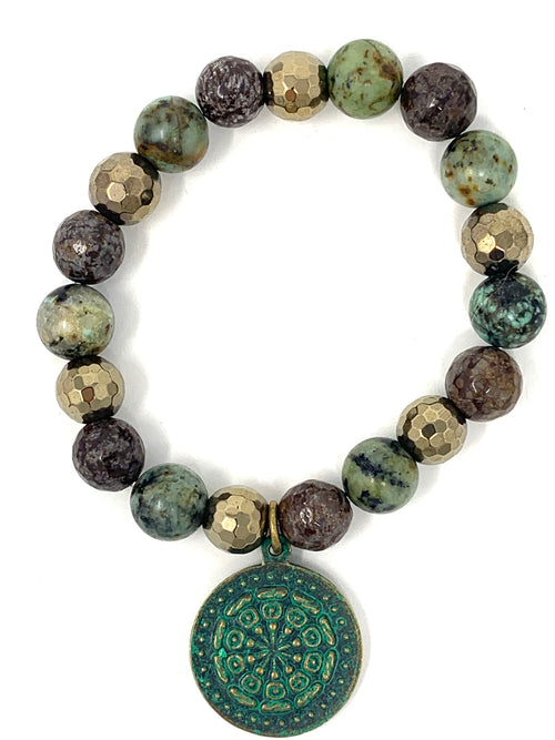African Turquoise and Patined Charm Beaded Bracelet