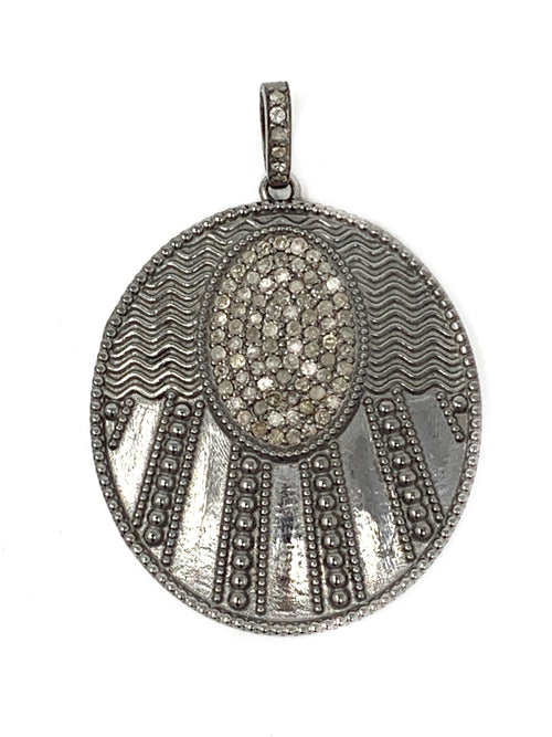 Art Deco Sterling and Pave Diamond Pendant