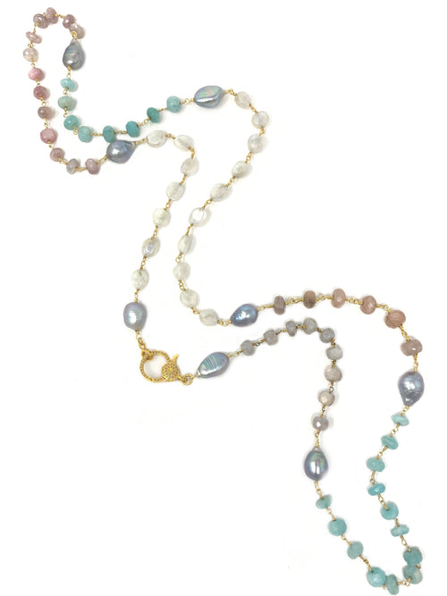 Pastel Gemstones and Pearl Chain with Pave Diamond Clasp