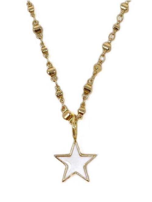White Enamel Small Star on Gold Moroccan Chain