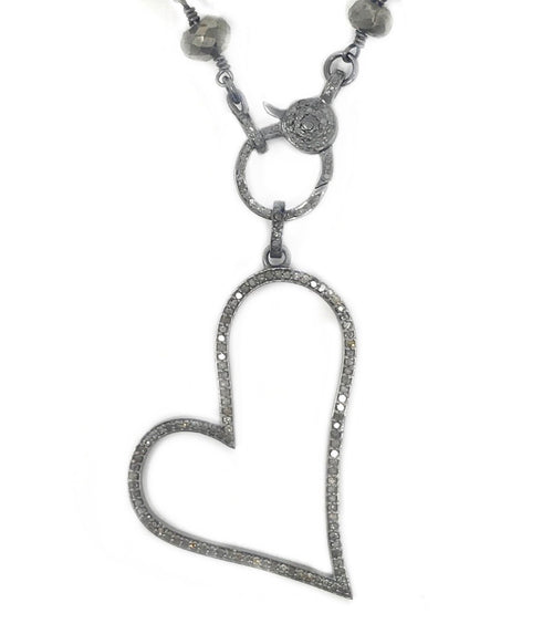 Pave Diamond Vermeil and  Oxidized Sterling Silver Outline Sideways Heart Pendant