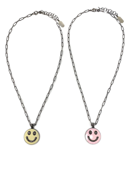 Enamel and Diamond Smile Necklaces