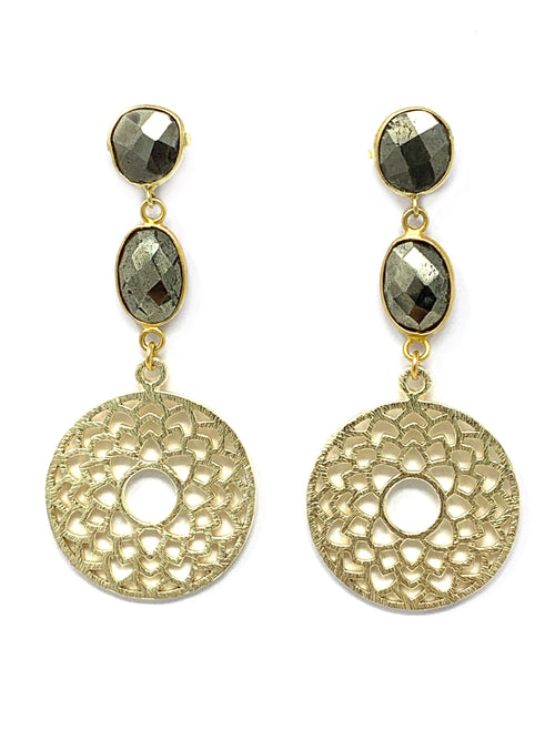 Pyrite and Gold Flower Post Earrings