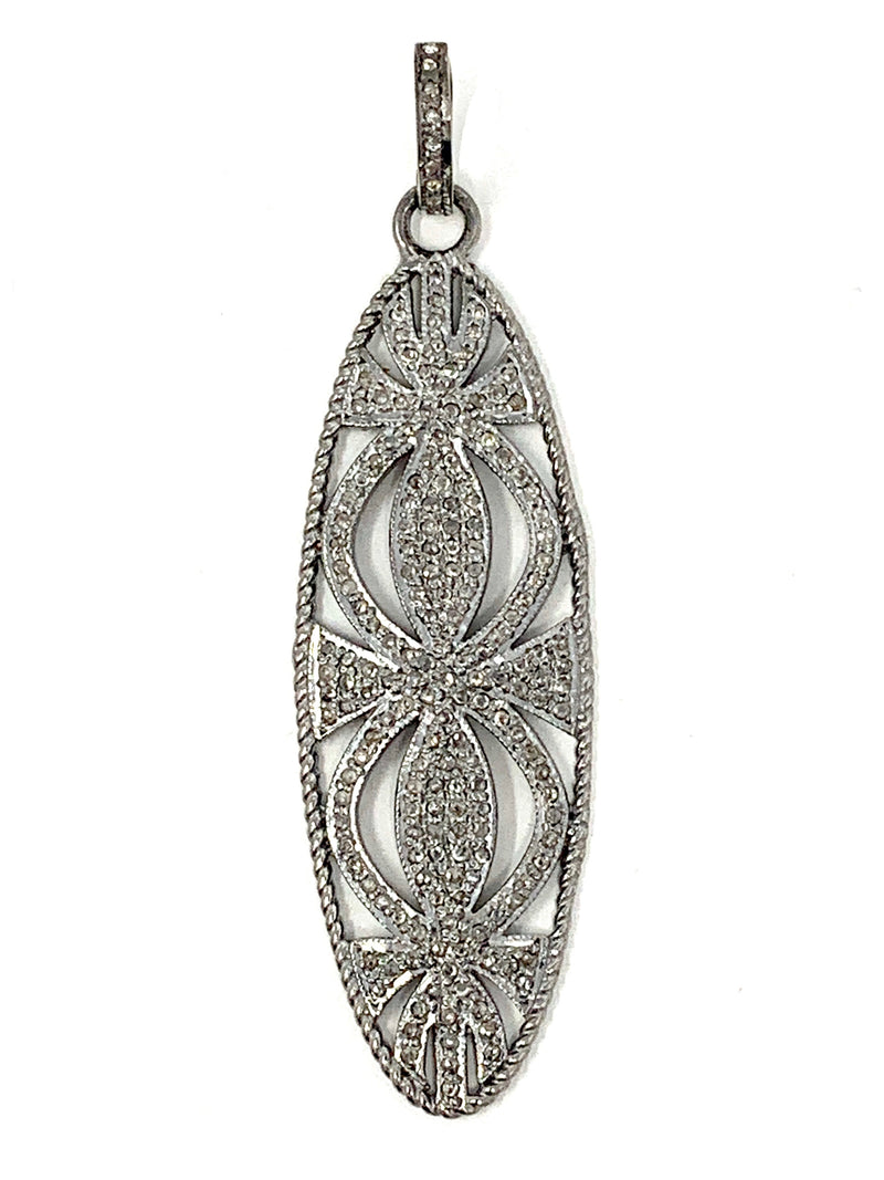 Vintage Style Long Pave Diamond Pendant