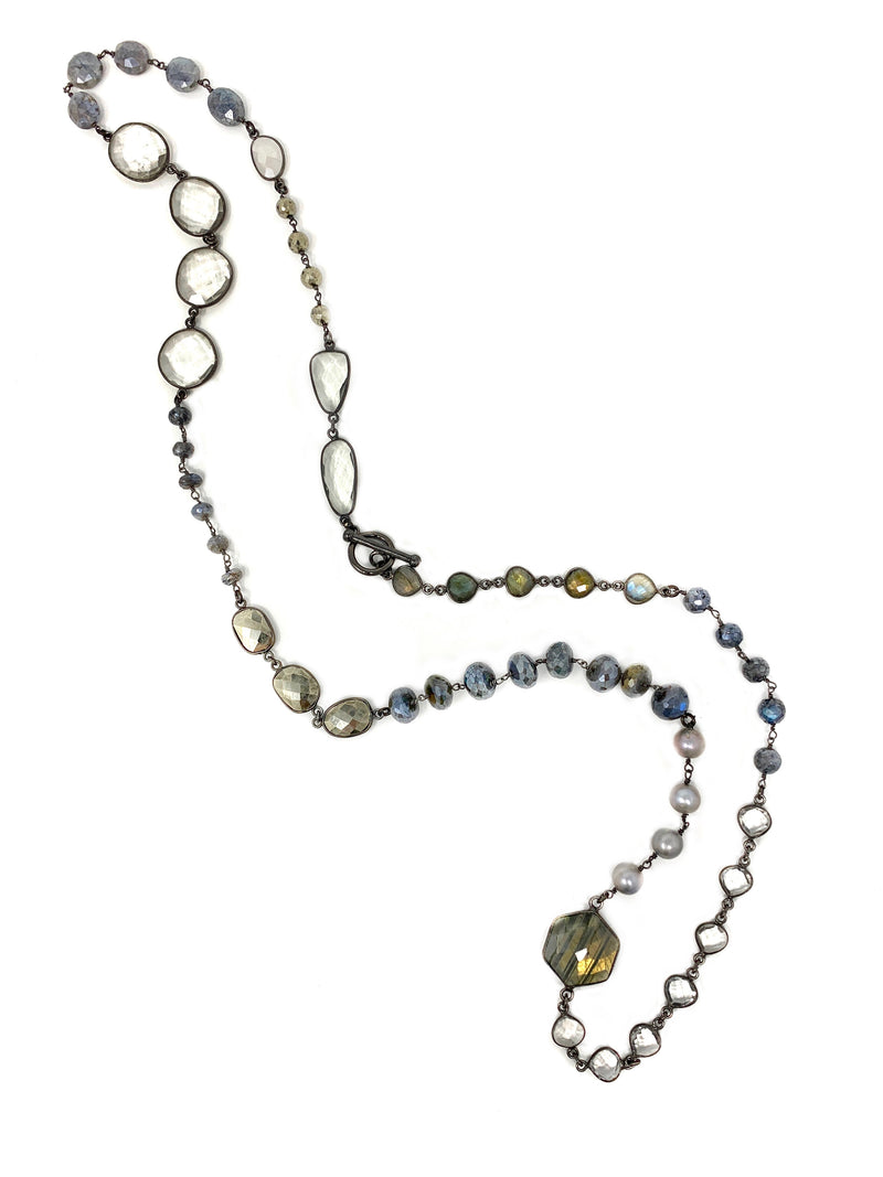 Gemstone and Gunmetal Long Necklace with Toggle
