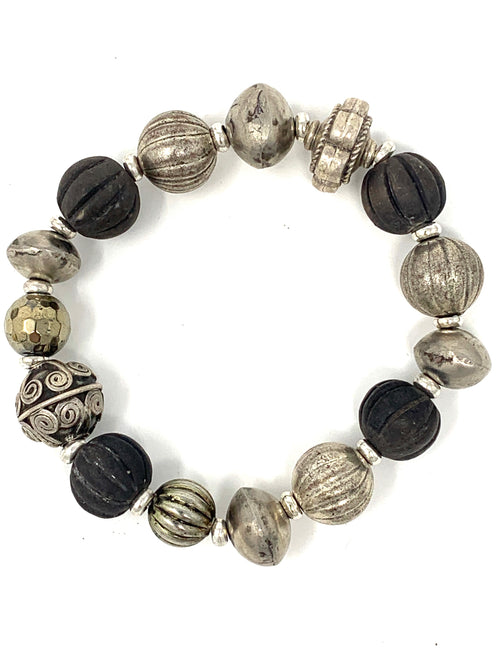 African Clay and Mixed Silver Beaded Bracelet