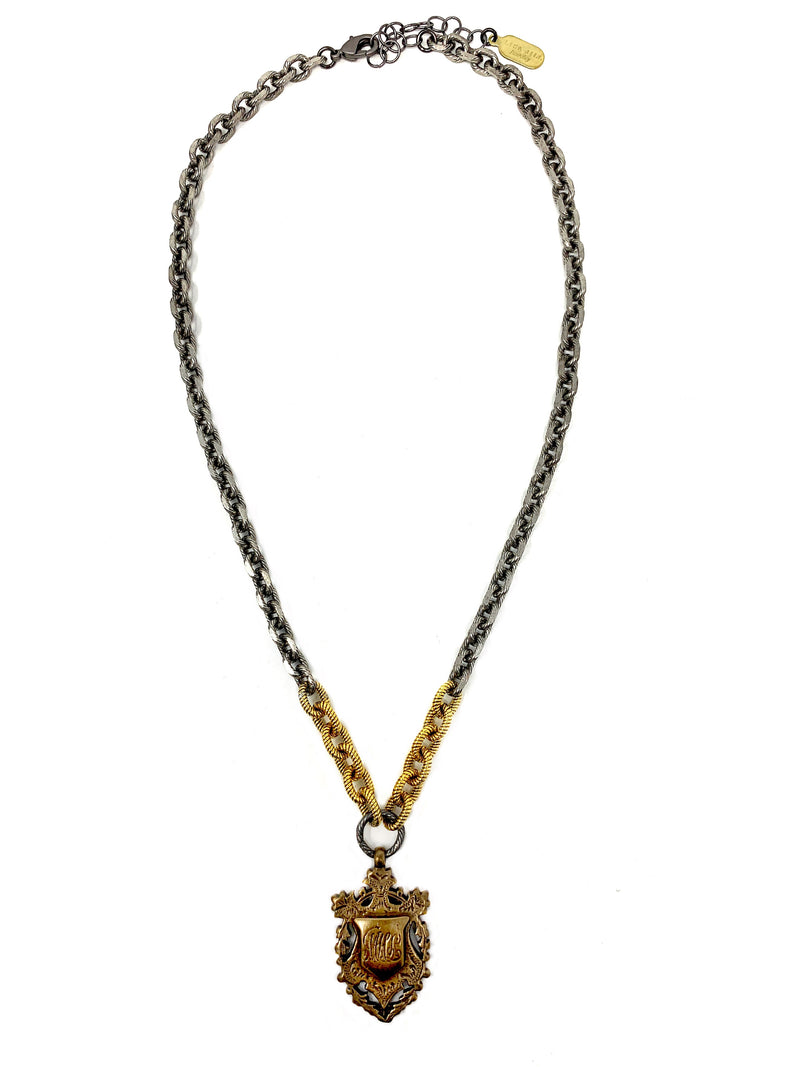 Mixed Metal Chain with Vintage Style Crest