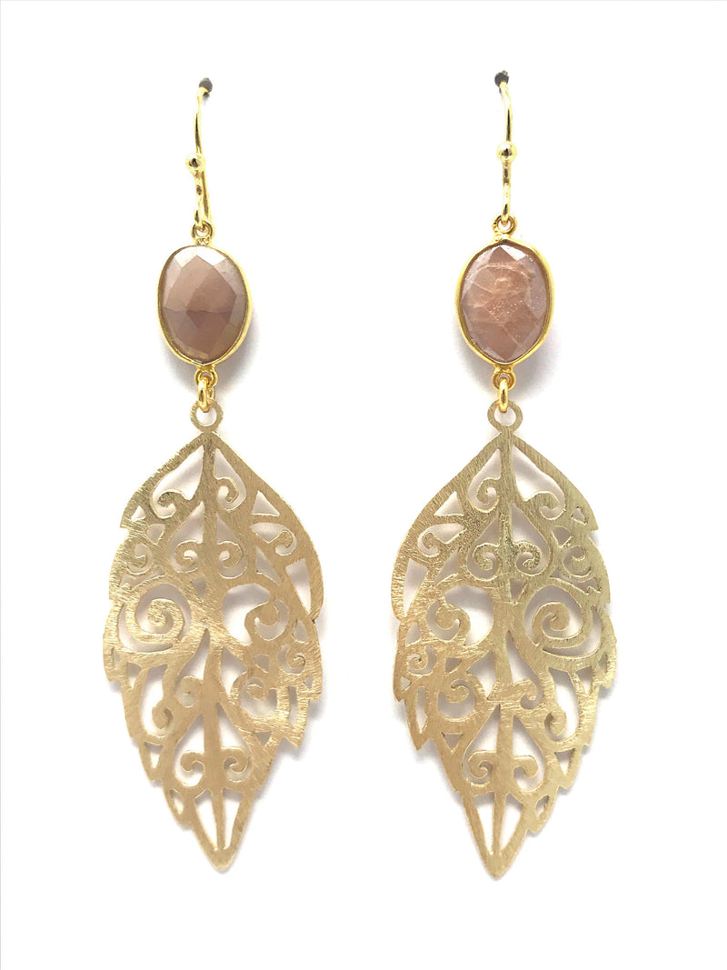 Pink Moonstone and Filigree Gold Leaf Drop Earrings