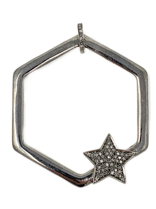 Hexagon And Pave Diamond Star Sterling Pendant