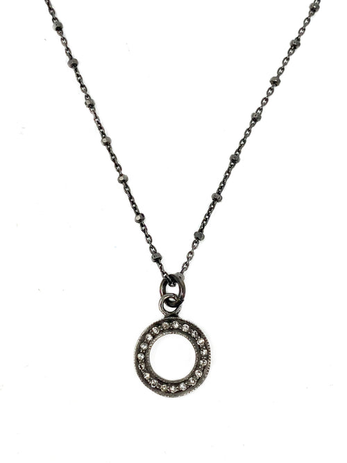 Small Pave Diamond Open Circle on Oxidized Sterling Chain
