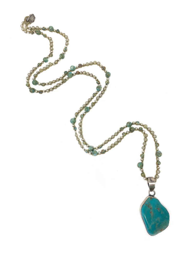 Silver and Turquoise Crocheted Czech Beads with Turquoise Pendant