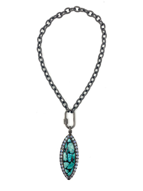 Turquoise and Moonstone Pendant on Matte Dark Silver Chain with Diamond Accent Carabiner Lock