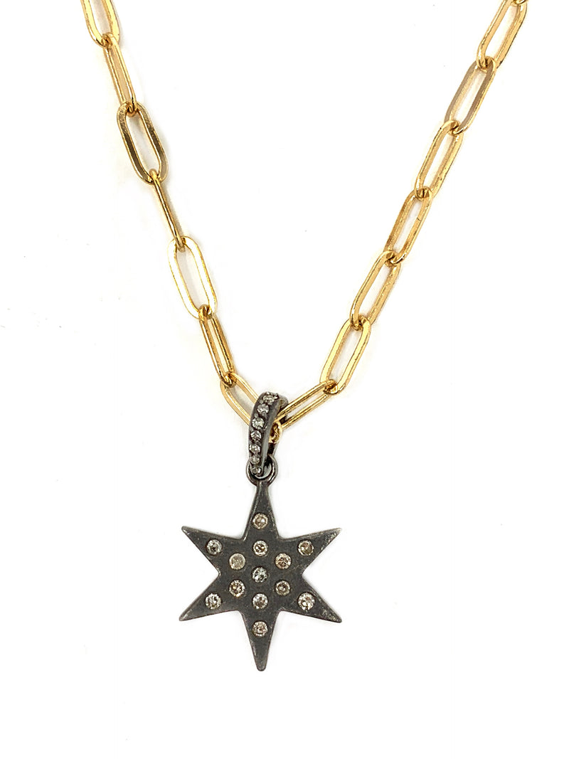 Matte Sterling Star with Dotted Diamonds on Gold Chain