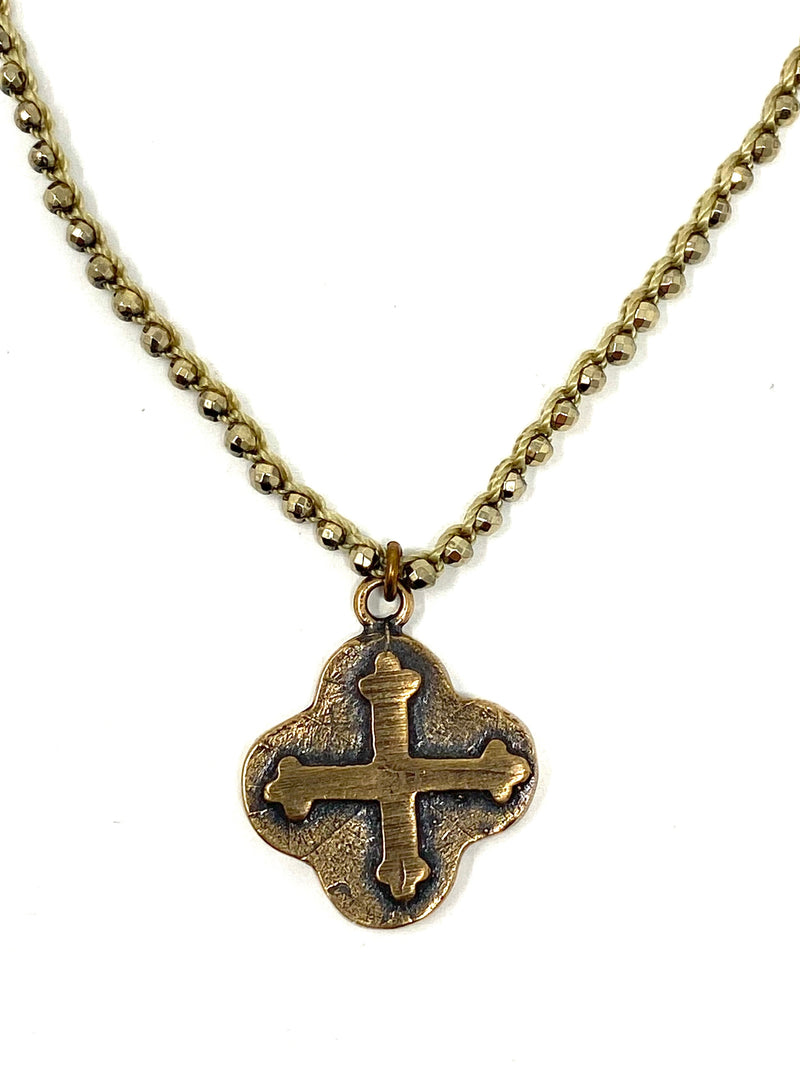Pyrite Crocheted Chain with Organic Shaped Bronze Cross