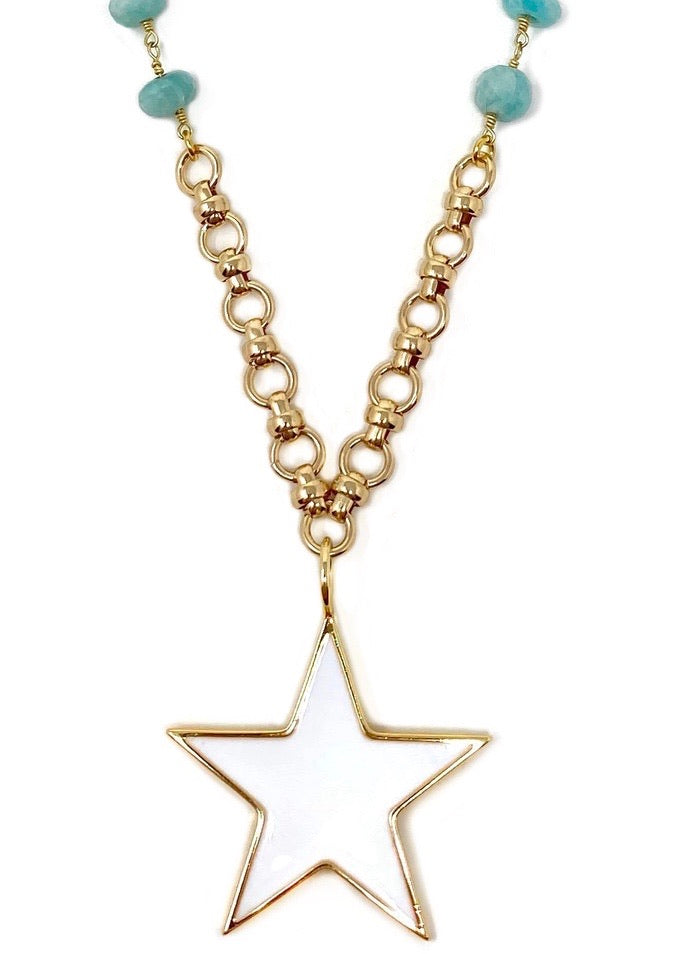 White Enamel Large Star on Amazonite and Gold Chain