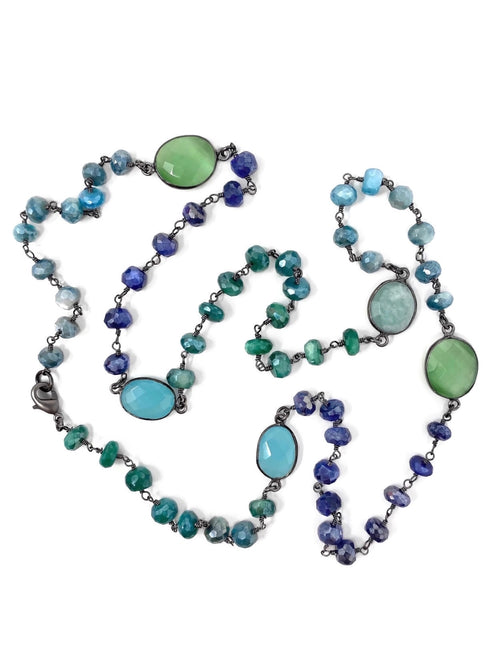 Blue and Green Gemstone Chain
