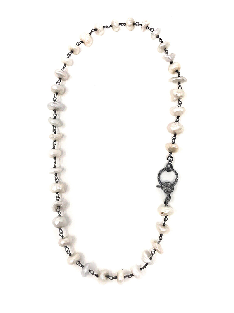 Organic Shaped Freshwater Pearls and Oxidized Sterling with Pave Diamond Clasp