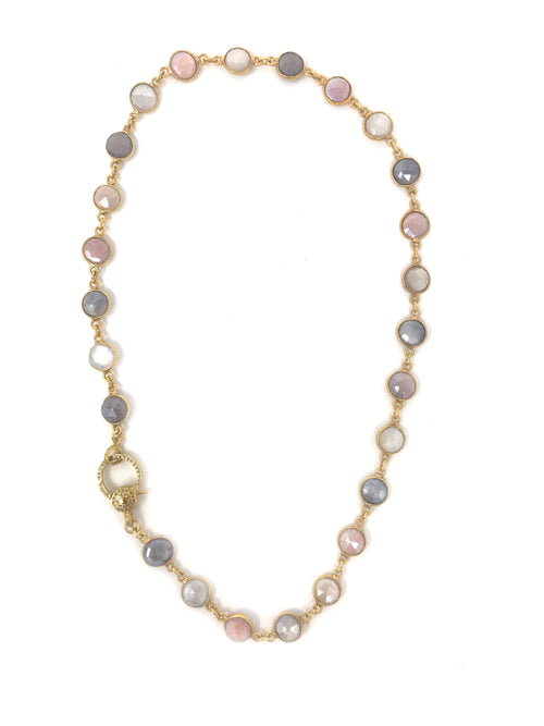 Multicolor Moonstone Chain with Vermeil Pave Diamond Clasp