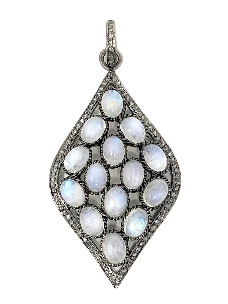 Rainbow Moonstone with Pave Diamonds Marquis Shape Pendant