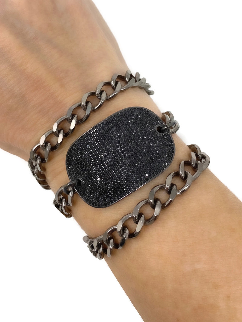 Black Pave, Cubic Zirconia, Shiny Curb Chain Triple Wrap I.D. Bracelet - LARGE
