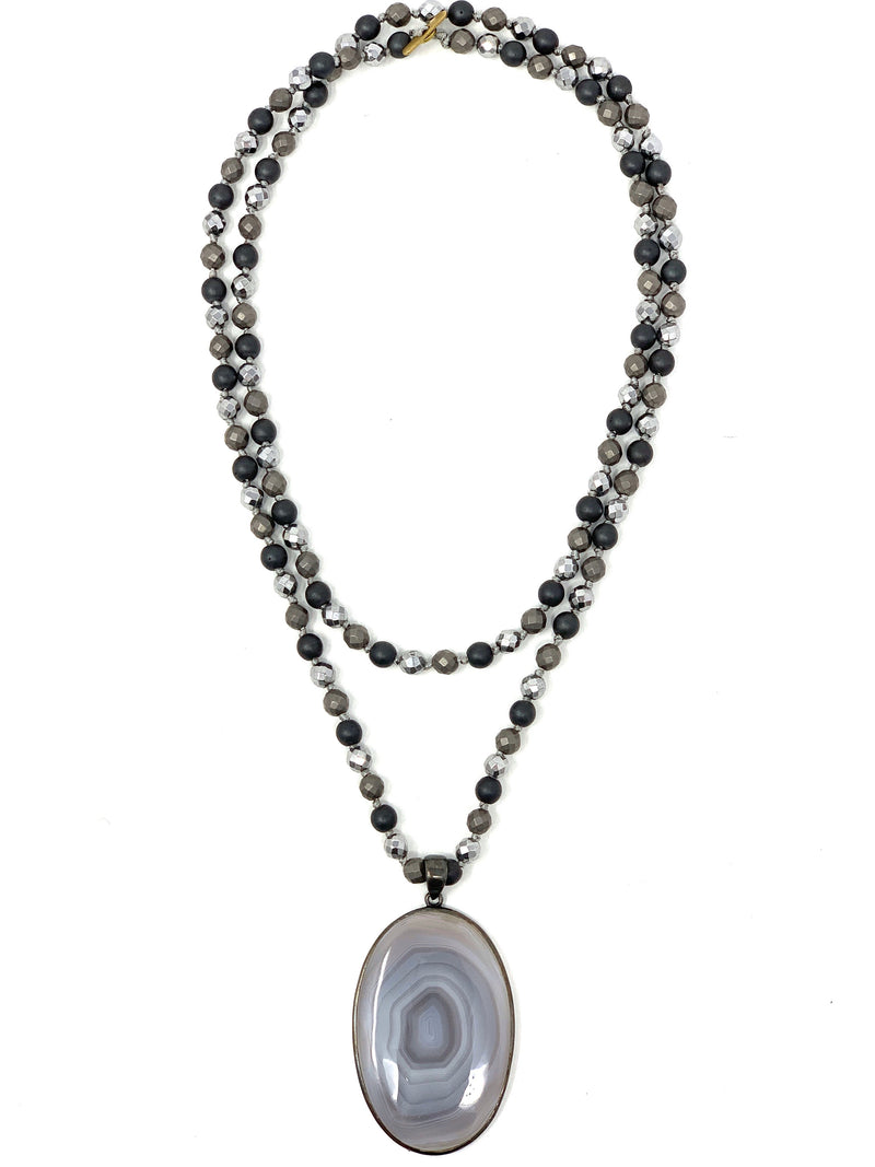 Gray and Silver Beads with Botswana Agate Pendant