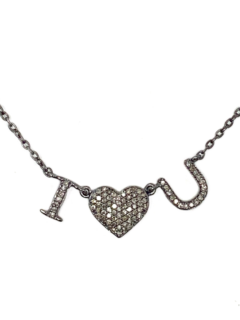 I LOVE❤️ U Pave Diamond Necklace