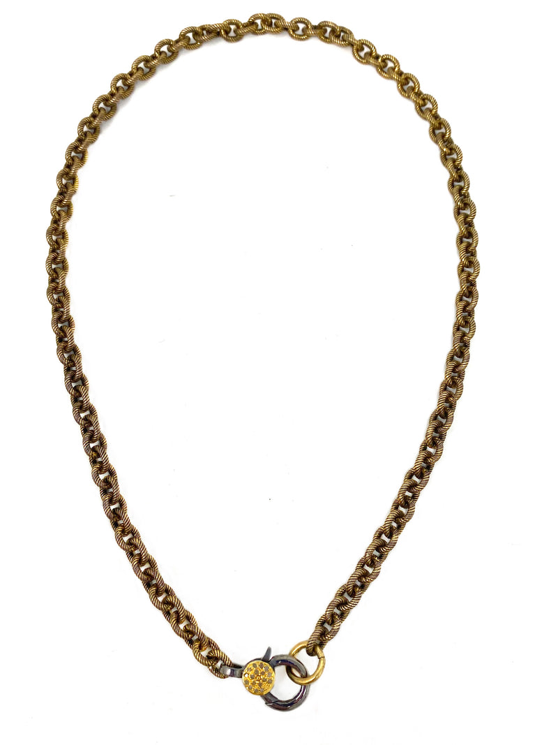Textured Antiqued Brass Chain with Diamond Accent Clasp