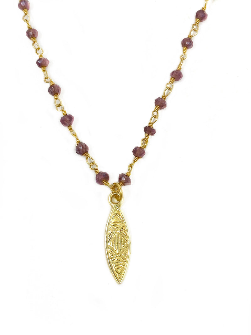 Garnet Chain with Brass Textured Charm