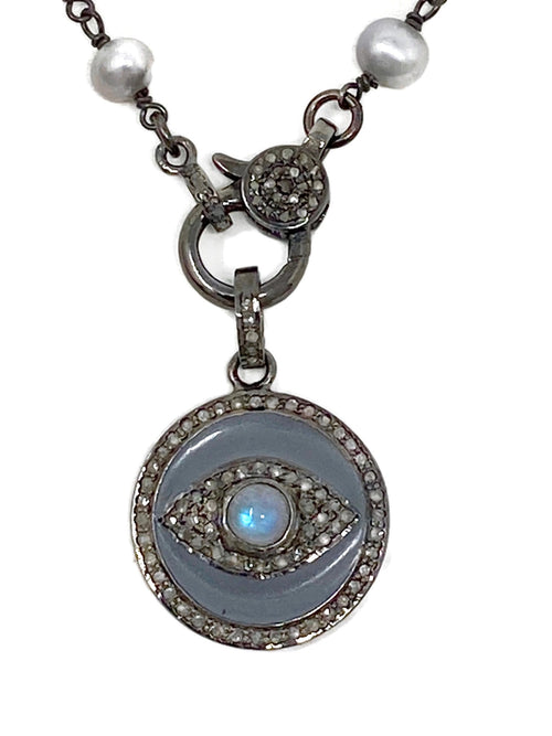 Gray Enamel and Moonstone Evil Eye on Silver Freshwater Pearl Chain