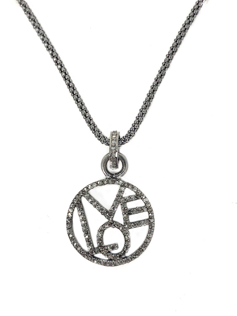 Circle Love Pendant on Sterling Chain