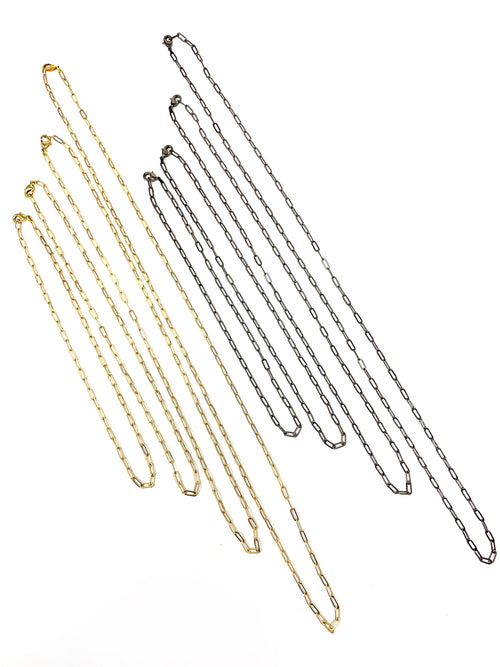 Delicate and Modern Paper Clip Chain in Dark Silver or Gold in Various Lengths