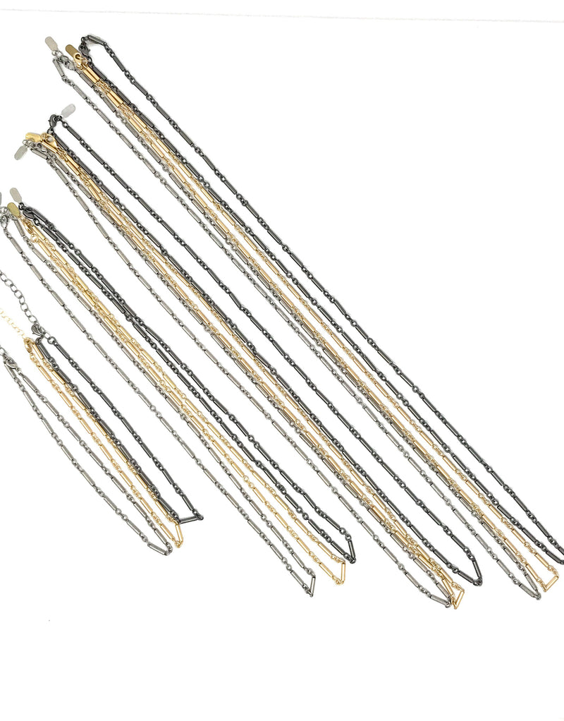 Bar Chain in Matte Gold or Matte Gunmetal or Matte Silver in Various Lengths