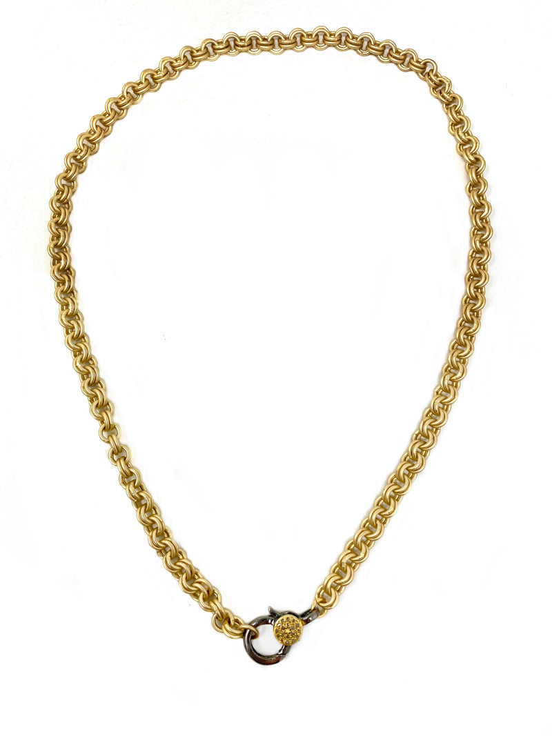 Double Rolo Matte Gold Chain with Two Tone Diamond Accent Clasp