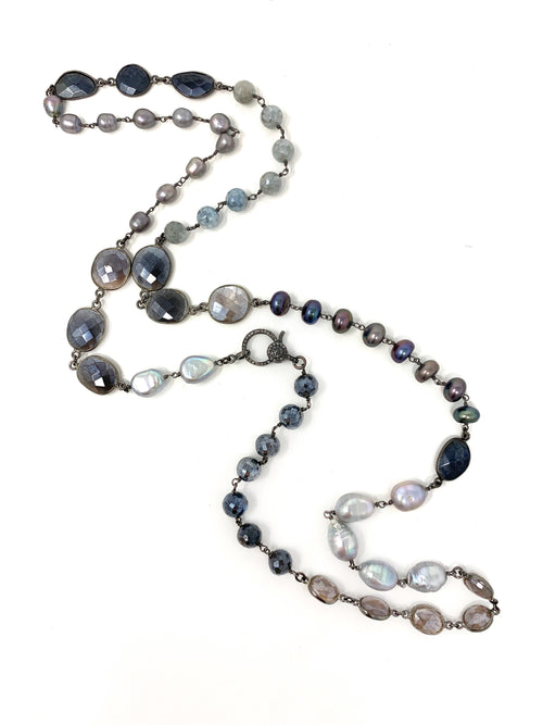 Assorted Pearls and Gemstone Chain with Diamond Clasp