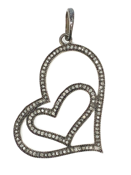 Heart Within a Heart Pave Diamond Pendant