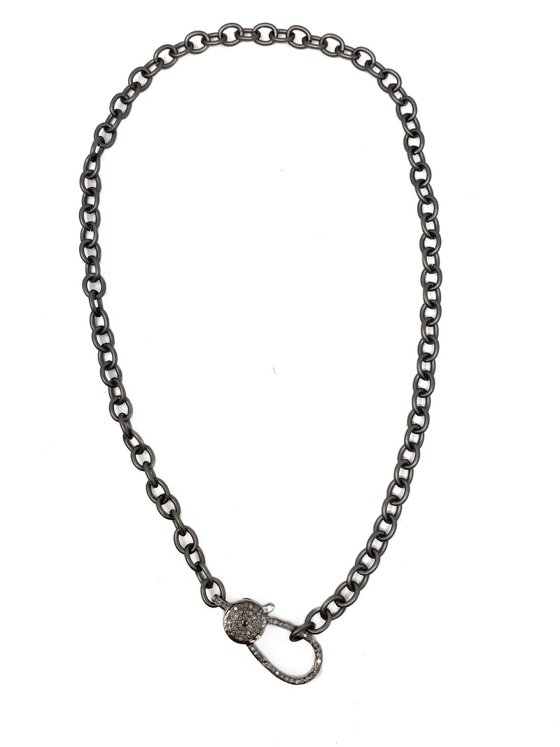 Matte Gunmetal Chain with Large Diamond Clasp