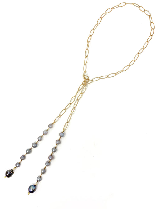 Gray and Peacock Pearl Lariat
