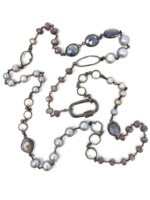 Shades of Gray and Silver Chain with Diamond Accent Carabiner Clasp